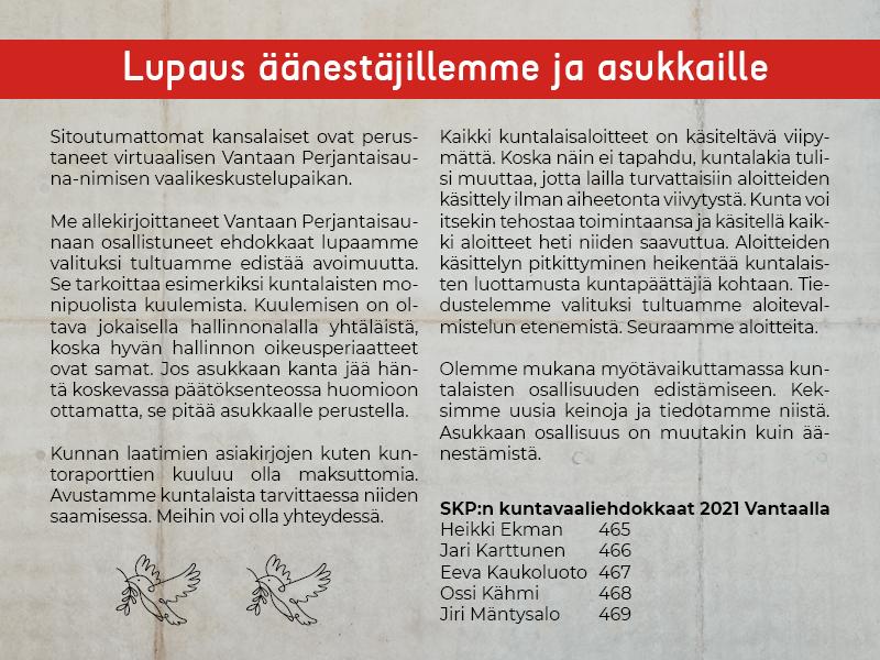 Avoimuuslupaus äänestäjillemme ja asukkaille kuvassa tekstinä.