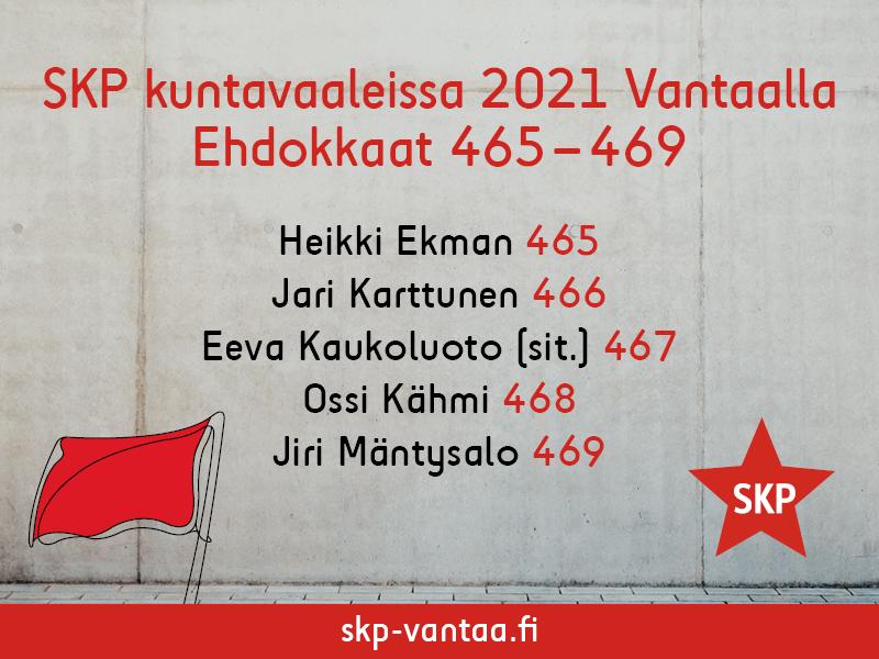 SKP Vantaan ehdokasnumerot kuntavaaleissa 2021.